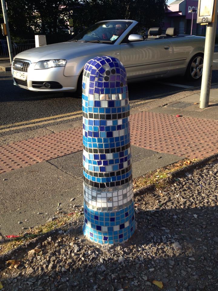 Blue mosaicked bollard